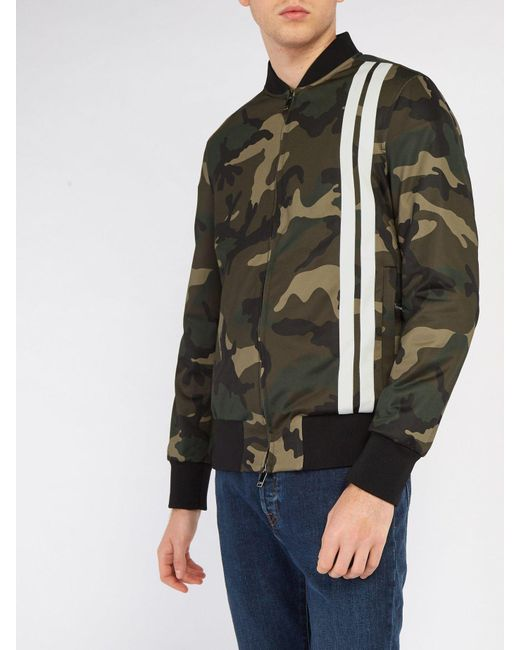 4286f8343ee79 ... Valentino - Green Camouflage Print Bomber Jacket for Men - Lyst ...