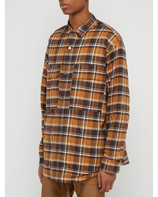 6ac5129b9d ... Fear Of God - Brown Checked Flannel Overshirt for Men - Lyst ...
