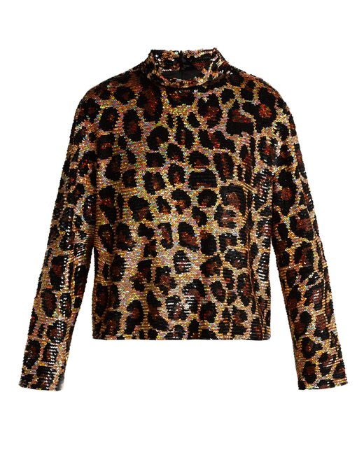 Ashish - Brown Leopard-print Sequined Top - Lyst