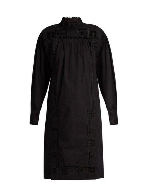 Isabel Marant - Black Samuel High-Neck Cotton Dress - Lyst