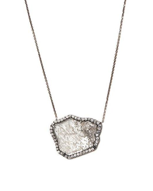 Susan Foster - Metallic Diamond Slice & White-gold Necklace - Lyst