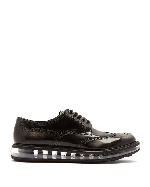 Prada - Black Bubble Midsole Leather Brogues for Men - Lyst