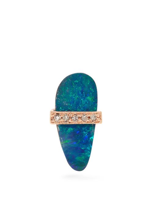 Jacquie Aiche | Multicolor Diamond, Opal & Rose-gold Earring | Lyst