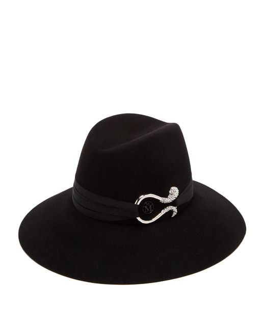 Maison Michel - Black Kate Strass Tentacles Rabbit Hair Felt Hat - Lyst