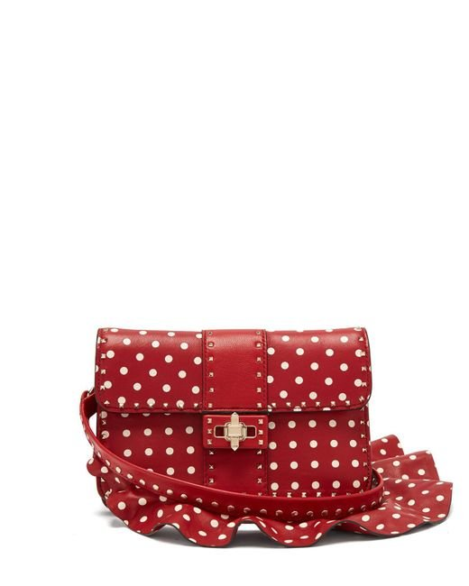 Valentino - Red Rockstud Polka Dot Cross Body Leather Bag - Lyst