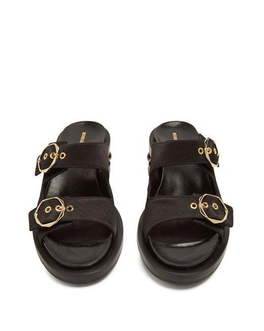 Amazon Footaction Nicholas Kirkwood Casati pearl-heeled satin-drill leather sandals Free Shipping For Sale kn2PZs72lc