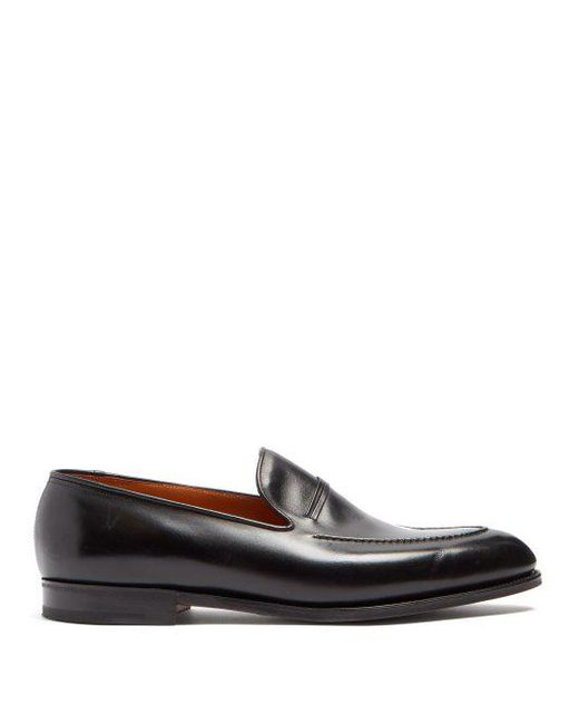 John Lobb - Black Amble Leather Loafers for Men - Lyst