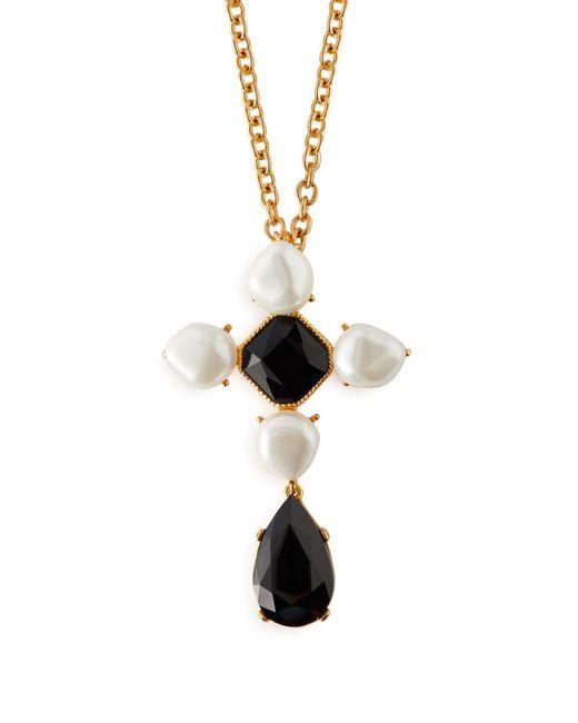 Oscar de la Renta - Black Baroque Faux Pearl And Crystal Brooch Necklace - Lyst