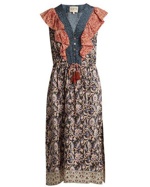 Sea - Multicolor Maho Border Floral-print Silk Dress - Lyst ...