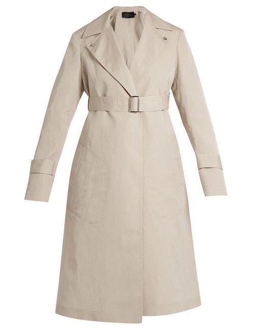 CALVIN KLEIN 205W39NYC - Natural Peak-lapel Long Silk-blend Coat - Lyst