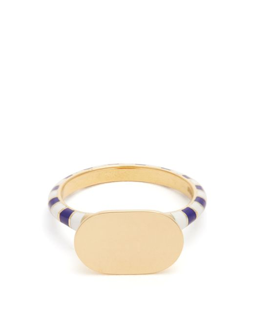 Jessica Biales | Blue Enamel & Yellow-gold Ring | Lyst