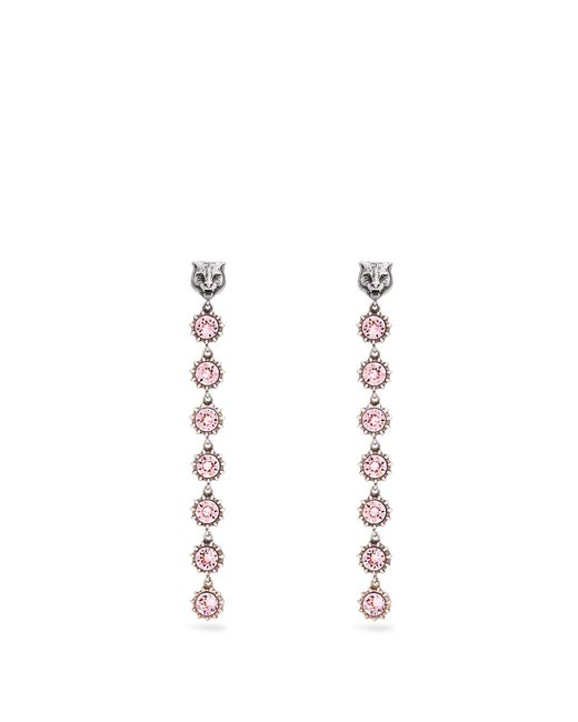 Gucci | Pink Tiger Crystal-embellished Earrings | Lyst