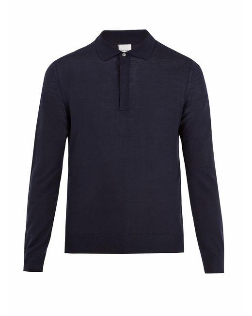 Paul smith long sleeved fine knit wool polo shirt in blue for Long sleeve wool polo shirts
