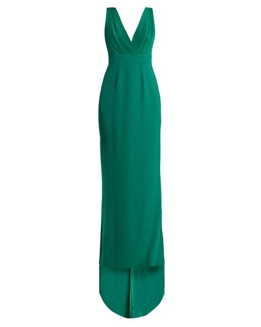 Diane von Furstenberg | Green Deep V-neck Silk-cady Gown | Lyst