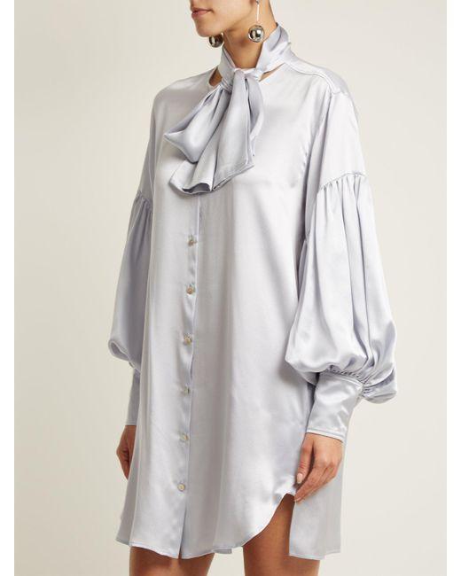 Balloon-sleeve oversized silk shirtdress Hillier Bartley loonJpmNRB