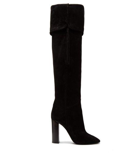 2c0048870be Lyst - Saint Laurent Meurice Suede Knee Boots in Black - Save 60%