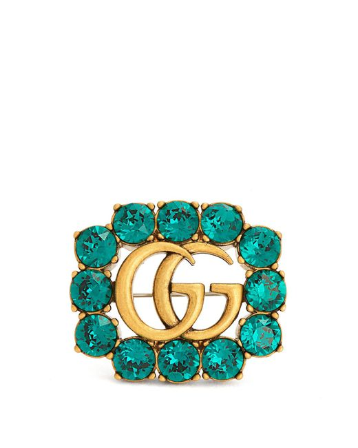 Gucci | Green Crystal-embellished Brooch | Lyst