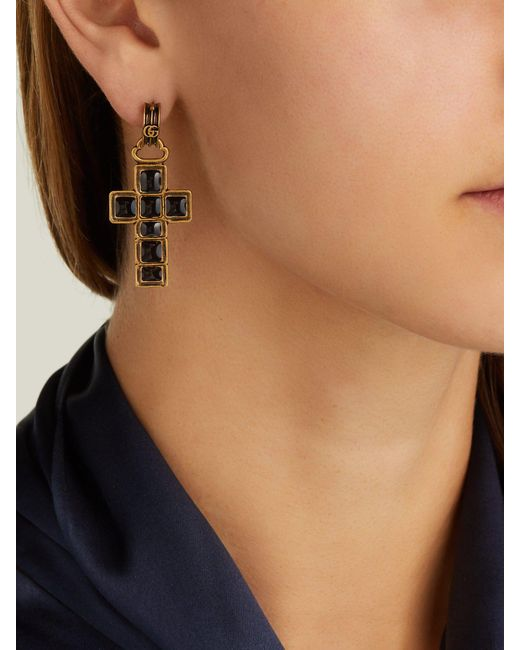 c4ce4ad2cbe ... Gucci - Black Cross Drop Earrings - Lyst ...
