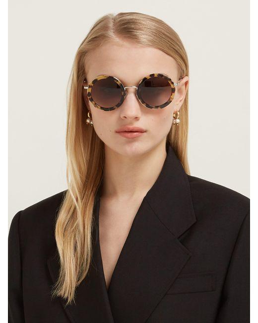 916f0a74c6da ... Miu Miu - Brown Oversized Round Frame Acetate Sunglasses - Lyst ...