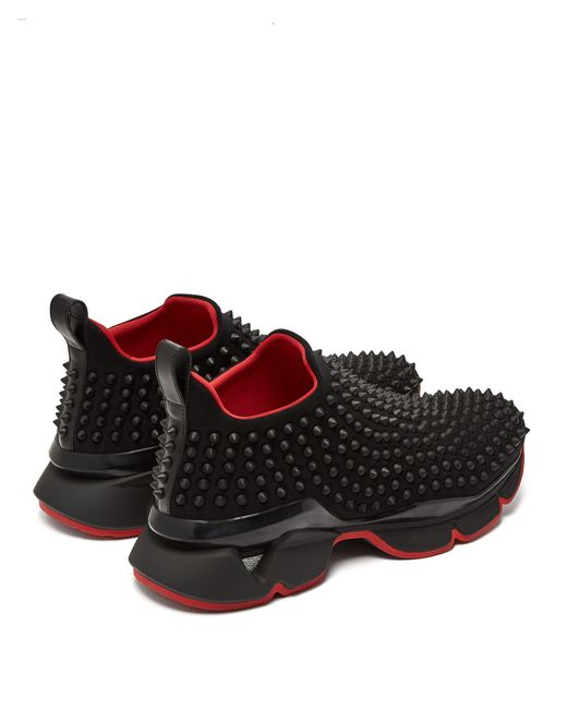 d7f2dacb408f ... Christian Louboutin - Black Spike Sock Studded Low Top Trainers - Lyst  ...