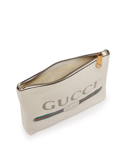 8230e2a4c2e ... Gucci - White Logo Print Small Leather Pouch for Men - Lyst ...