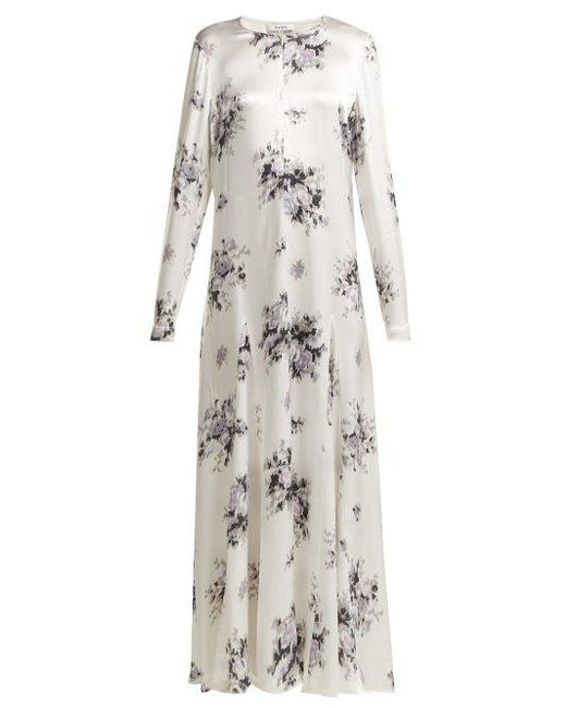 36416213 Ganni - White Cameron Floral-print Satin Dress - Lyst ...