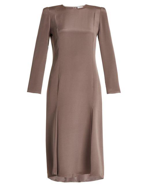 Raey - Purple Bracelet Sleeve Pleat Front Silk Dress - Lyst