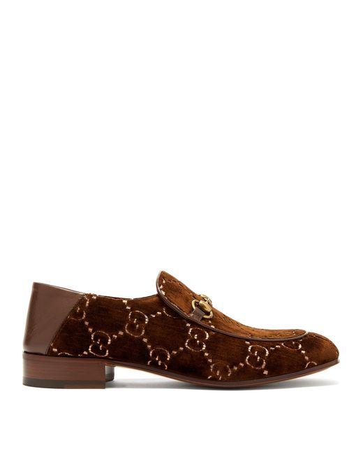 Gucci - Brown Mocassins en velours à logo jacquard Suprême GG for Men - Lyst