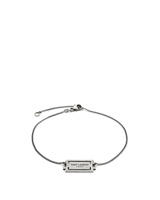 Saint Laurent - Metallic Razor-blade Logo-charm Bracelet for Men - Lyst