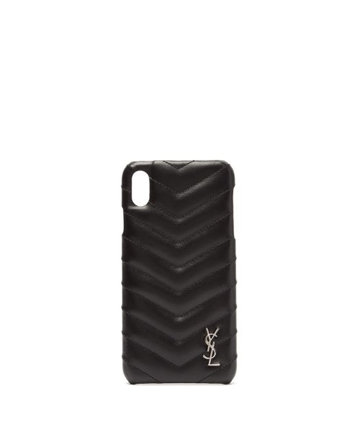 Saint Laurent Black Lou Quilted Leather Iphone® Xs Max Phone Case