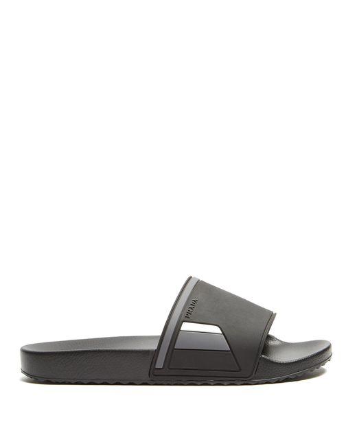 Prada | Black Tri-colour Logo-debossed Slides for Men | Lyst