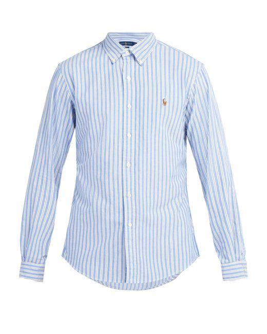 d8eda6338c3 Polo Ralph Lauren - Blue Slim Fit Striped Cotton Oxford Shirt for Men - Lyst  ...