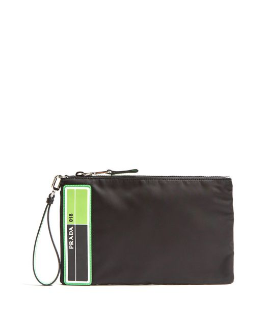 Prada - Black Pochette en nylon à logo for Men - Lyst