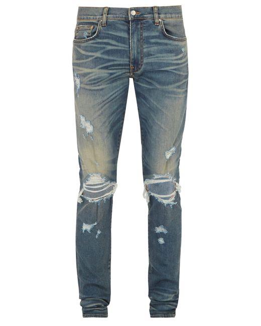 Amiri - Blue Distressed Slim Leg Jeans for Men - Lyst