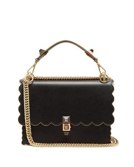 ae26673e7763 Fendi Kan I Leather Shoulder Bag in Black - Save 8.738938053097343 ...