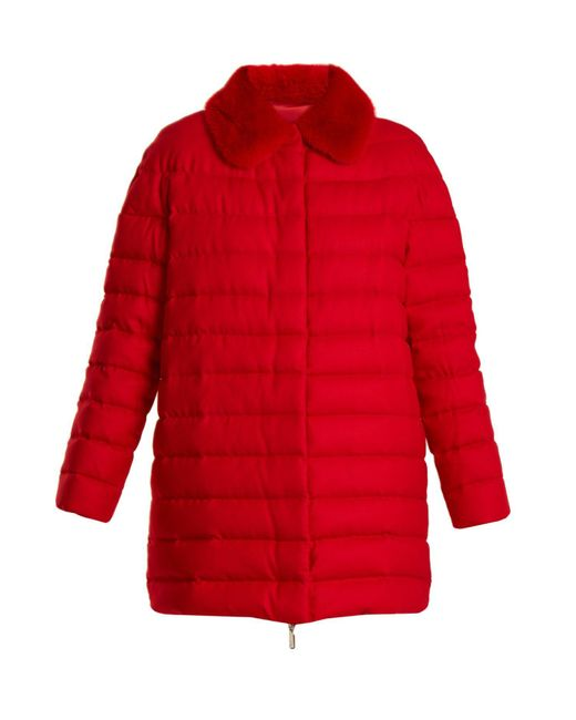 Moncler Gamme Rouge - Red Winnipeg Fur Trimmed Quilted Down Cashmere Coat - Lyst