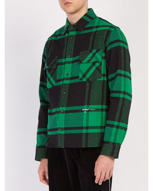 386d4988358 ... Off-White c o Virgil Abloh - Green Checked Cotton Blend Flannel Shirt  for ...