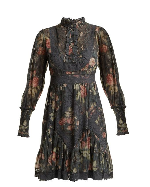 Zimmermann - Gray Unbridled Floral Print Silk Dress - Lyst