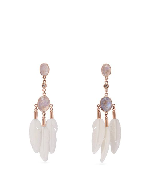 Jacquie Aiche - Multicolor Dream Catcher Moonstone & Bone Rose Gold Earrings - Lyst