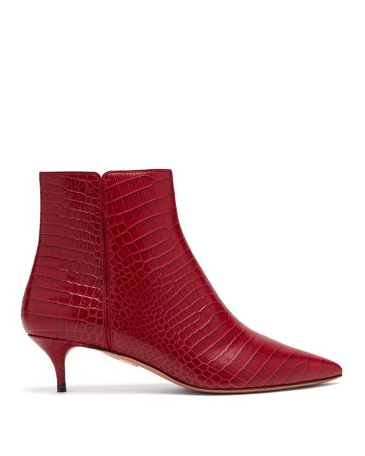 Aquazzura - Red Editor 45 Crocodile Effect Leather Ankle Boots - Lyst
