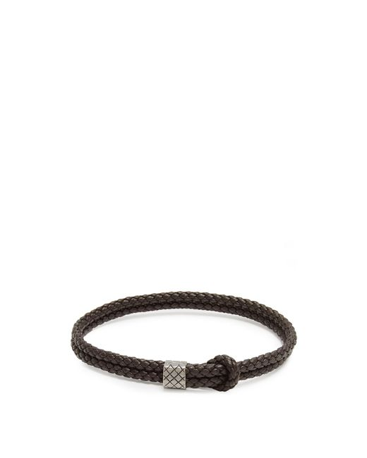 Bottega Veneta | Brown Double Intrecciato-woven Leather Bracelet for Men | Lyst
