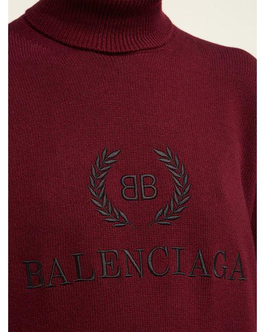 fc2ebd729 Balenciaga Logo Embroidered Roll Neck Wool Blend Sweater - Lyst