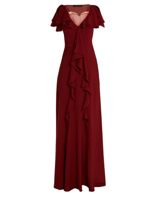Elie Saab | Red Lace-insert Ruffled Silk-blend Gown | Lyst