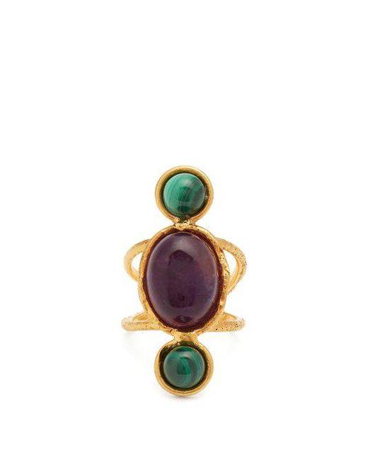 Sylvia Toledano - Purple Amethyst And Malichite Gold-plated Ring - Lyst