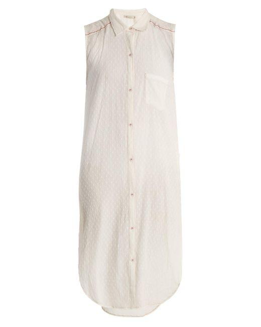 Mes Demoiselles - White Sleeveless Dobby Dot Long Line Shirt - Lyst