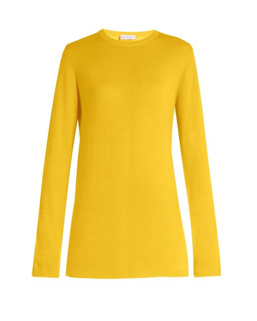 Raey - Yellow Long-line Fine-knit Cashmere Sweater - Lyst
