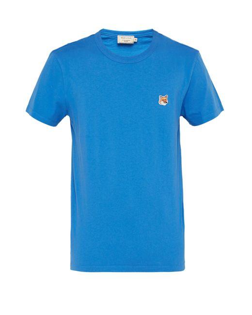 0b6803a287 Maison Kitsuné - Blue Fox Appliqué Cotton Jersey T Shirt for Men - Lyst ...