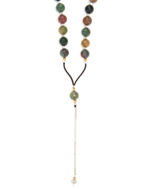 Black Dakini - Metallic Moss-agate And Cord Necklace for Men - Lyst