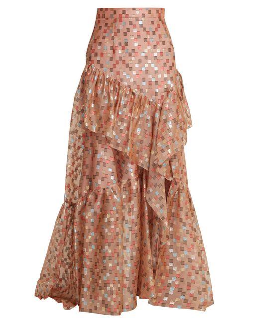 Peter Pilotto Brown Fil Coupé Jacquard Silk Blend Organza Skirt
