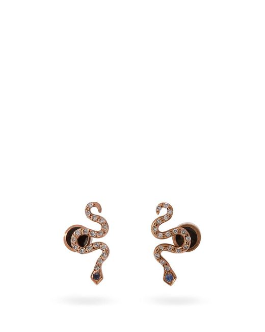 Ileana Makri - Metallic Little Snake 18kt Rose Gold And Sapphire Earrings - Lyst